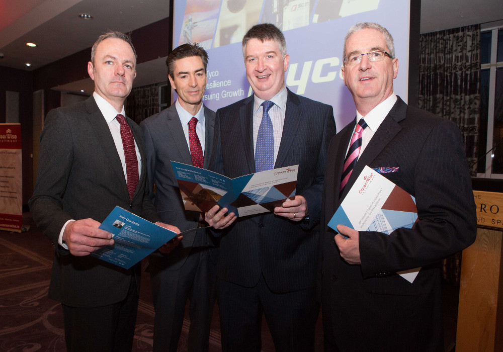 Conor O'Connell, Chairman, CIPD Southern Region, Donal Sullivan, Vice-President and General Manager, Tyco, Ireland, Liam Linehan, CIPD and Ken Murphy, Director, CareerWise Recruitment and event sponsor at the CIPD Southern Region business breakfast at the Maryborough Hotel, Cork.
