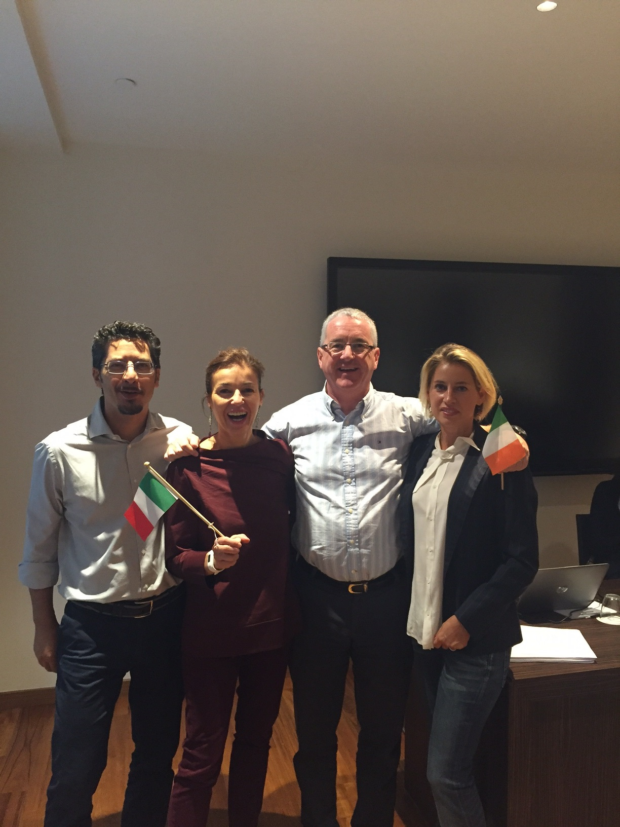 Photo shows Nicola Mantovanelli, Laura Cavalieri, Ken Murphy & Valentina Grimaldi of Pharmapoint Italy who hosted the INRALS General Assembly in Milan October 2016.