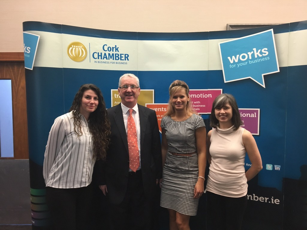 Left to Right: Valeria Freire (Firecomms), Ken Murphy (CareerWise Recruitment) , Eva Bolelucka & Edel Cashman (SensL)